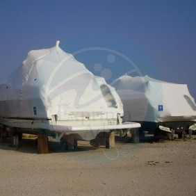 Protection of boats during winter with shrink wrap, Kaštel